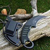 unbrand MTech 7 3/4' 440 Stainless Black G-10 Tactical Karambit Neck Knife MT-665BG