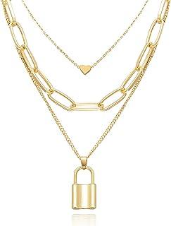 Nanafast Charm Layered Necklaces for Women Cute Heart Choker,Cuban Link,Lock Key Pendant,Y Pendant Punk Layering Choker Ch...