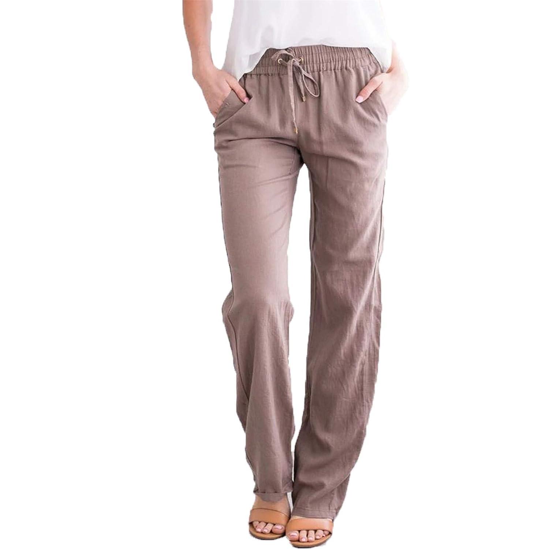 Women's Casual Linen Tapered Pants Elastic Drawstring Pant Womens Drawstring Wide Leg Pant (Medium,Khaki)