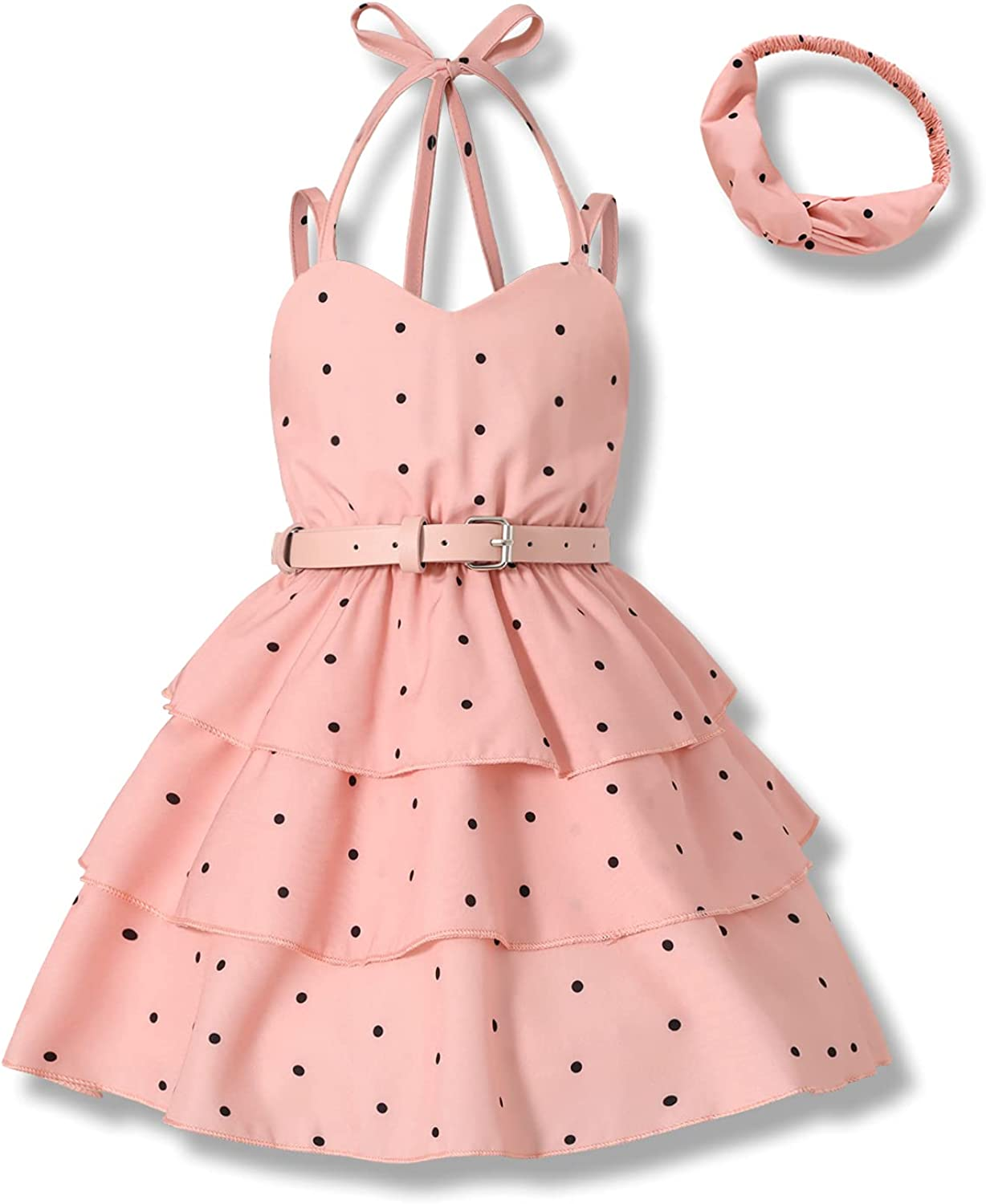 Toddler Girls Max 82% OFF Clothes Dress Cheap Halter Pleated Party 3-Layer Dots Dr