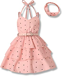 Toddler Girls Dress Halter Dots 3-Layer Pleated Party Dress Chiffon One-Piece A-line Dress with Belt Headband Summer Outfits