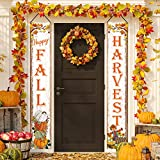 Whaline Fall Harvest Porch Sign Happy Fall Door Sign Pumpkin Maple Leaves Scarecrow Hanging Banner for Indoor Outdoor Home Farmhouse Yard Harvest Thanksgiving Party Decor