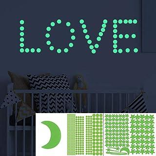 FOX 515pcs estrellas pegatinas de pared auto iluminantes decoración y posicionamiento súper duraderos para la sala de niños.