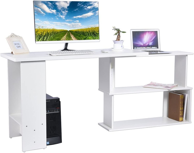 Computer-Ecke Schreibtisch Tisch PC-Tür, Fach für Laptop, L-frmiges Schreibtischregal, Heimbüro-Schreibtisch, Schreibtisch mit Regal, 90° Rotation, 120 x 48 x 74 cm.