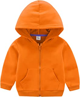 ANIMQUE Sudadera unisex para niños de un solo color, forro polar térmico, con cremallera y capucha, para invierno