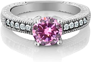 Gem Stone King 1.43 Ct Round Pink Zirconia White Created Sapphire 925 Sterling Silver Ring