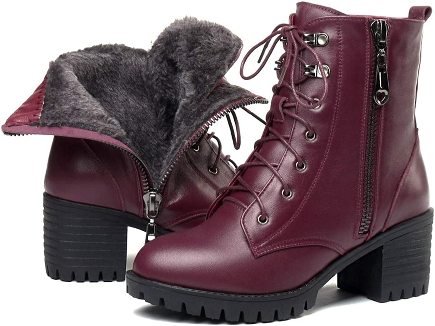 Genuine Leather Heel Women Snow Boots Wool Warm Female Winter Boots Female Military Boots