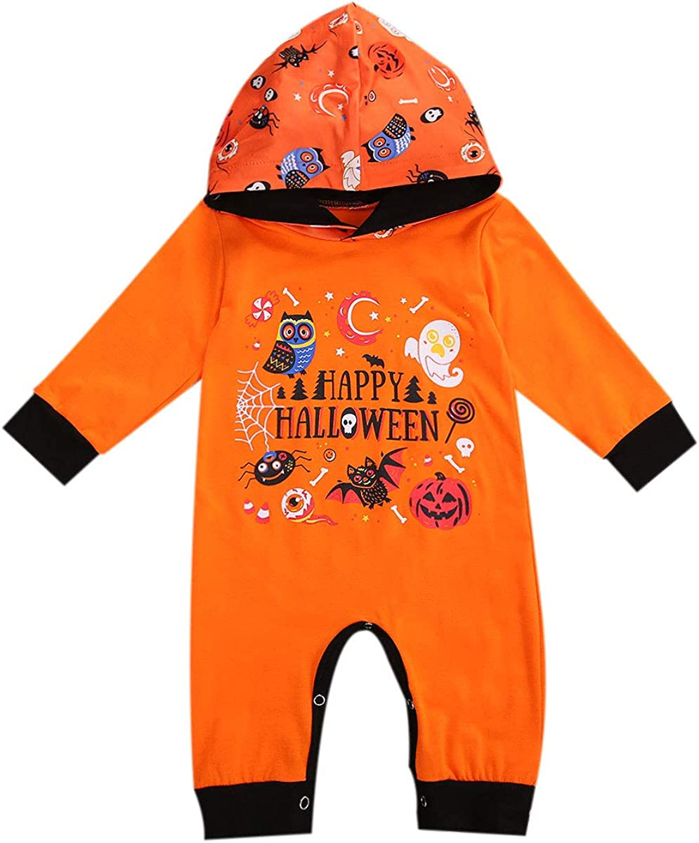 Unisex Baby Girls Boys Fall Outfits My First Halloween Romper Stripe Halloween Pumpkin Clothes Set