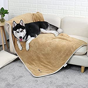 PAWZ Road Large Dog Blanket Fluffy Skin-Friendly and Warm,Double-Sided,No Shedding Blanket for Large and Medium Dogs and Cats-59″X39″ Light Brown