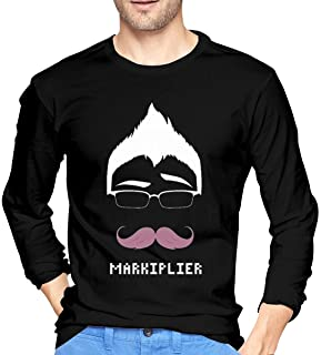 Bloonmer Men's Ultra Soft Long Sleeve T-Shirts Unique Design with Markiplier Warfstache Logo