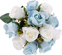 Pauwer 24 Heads Artificial Rose Flower Bouquets Silk Rose Bridal Bouquets for Wedding Party Garden Home Decoration, White Blue