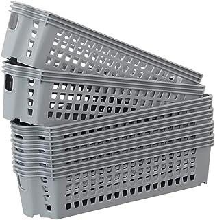 Pongpong Gris Paniers de Rangement en Plastique, 6-Pack Panier Petit