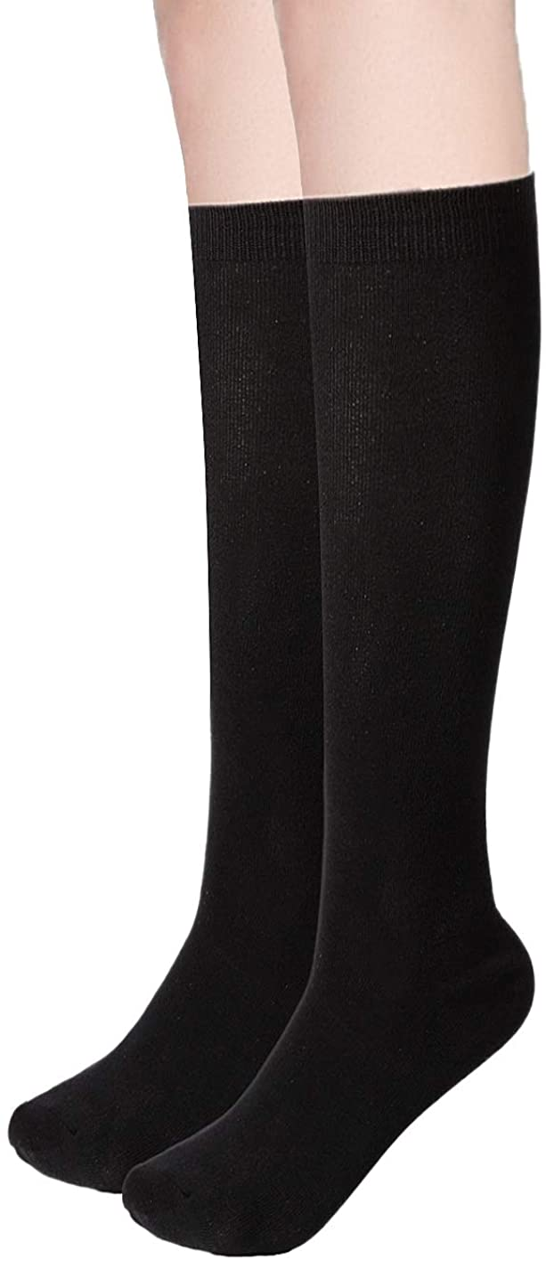Women's Bamboo Casual Knee High Socks Seamless Toe Breathable Student/Teacher/Travel/Athletic Medium (Medium - 2 Pairs)