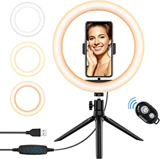 10'' USB Selfie LED Ring Light with Tripod Stand and Phone Holder Dimmable Phone RingLights Compatible with iPhone Android...