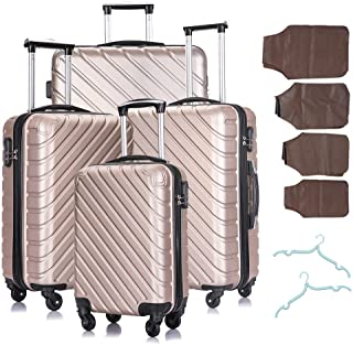 4 Piece Luggage Sets,Travel Suitcase Spinner Hardshell Lightweight w/Free Suitcase Cover& Hanger (Champagne 4)