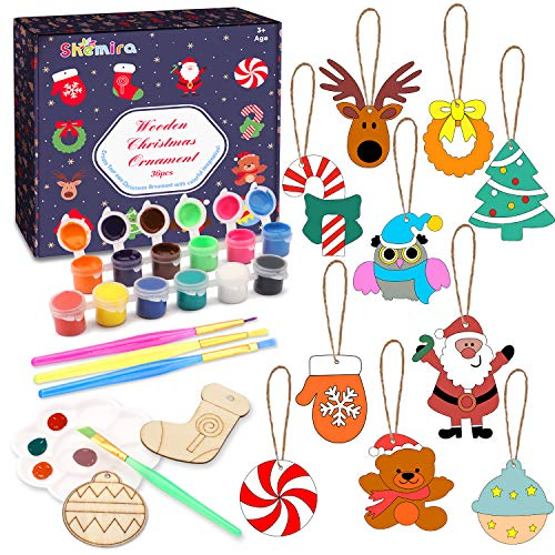 Shemira 36pcs Wooden Christmas Ornaments for Hanging Decorations,12 Styles Unfinished Wood Slices with Holes for Kids,DIY Craft Gift Toys with Paint Set for Girls and Boys Ages 5 6 7 8 9 10 11 12