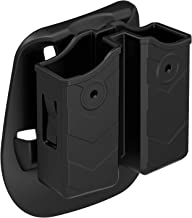 Double Magazine Holster, Universal 9mm .40 Double Stack Mag. Pouch Dual Stack Mag Holder with Adjustable Paddle Fit Glock Sig sauer S&W Beretta Browning Taurus H&K Most Pistol Mags