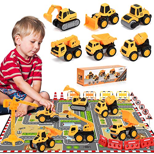 Pull Back Construction Vehicle Toys for Kids Pull Back Toy Construction Trucks with Playmat Crane Tower Road Signs Small Friction Powered Cars Toy Diecast Construction Vehicles Gifts for Boys