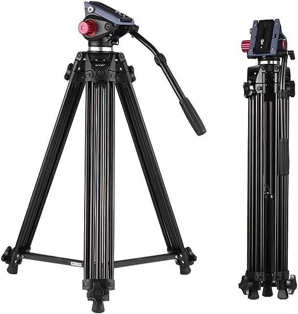 Andoer 170cm Caballete Fotográfico Trípodes Completos para Canon Nikon Cámara DSLR Sony Cámara Video Trípode Carga Máxima 10kg Aleación de Aluminio con Cabezal de Fluido 360° Bolsa de Transporte