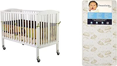 Dream On Me Folding Full Size Convenience Crib with Dream On Me Spring Crib and Toddler Bed Mattress, Twilight