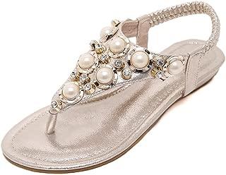 Mubeuo Womens Jeweled Flat Thong Beach Sandals Flip Flops