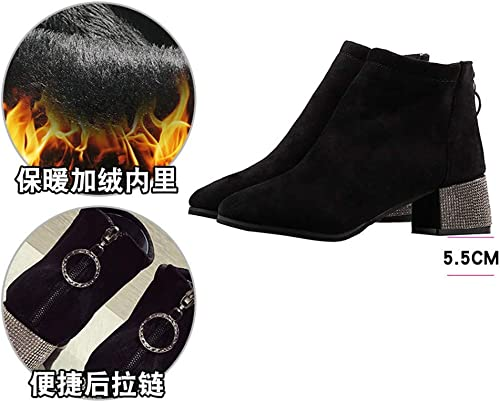 YMFIE botas de Gamuza de Gamuza Rhinestone de tacón Chelsea para mujer zapatos con Cremallera botas botas Martin
