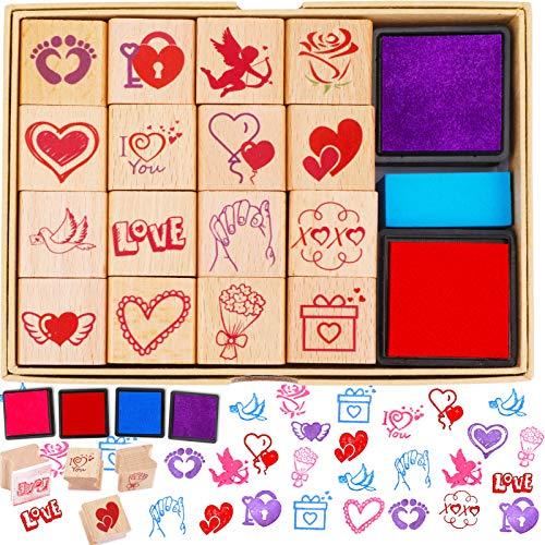 HOWAF Sellos de San Valentín para niños Manualidades Regalos, 20 San Valentín Sellos de Madera con Forma de corazón Almohadillas para niños San Valentín Bricolaje Bolsas Calcetines Rellenos