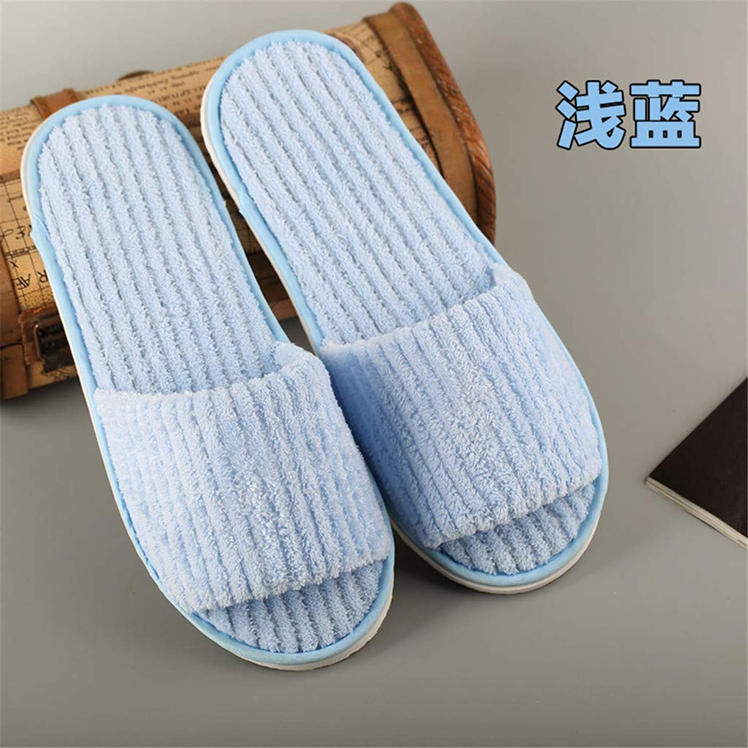 10 Pairs Coral Fleece Open Toe Slippers for Spa, Party Guest, Hotel and Travel, Washable and Non-Disposable, Easily Foldable and Portable,G
