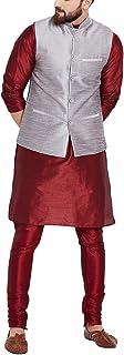 Sojanya (Since 1958), Men's Grey Silk Blend ONLY Nehru jacket