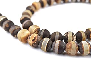 Tibetan Agate Beads - Full Strand of Authentic Genuine Matte Gemstone Beads - The Bead Chest (8mm - Striped)