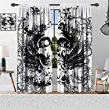 Gothic Blackout Curtains, Scary Skull in Grunge Sketch Dead Themed Dark Horror Evil Illustration, Thermal Insulated Curtains with Pattern, Window Curtains for Bedroom Living Room, 2 Panels
