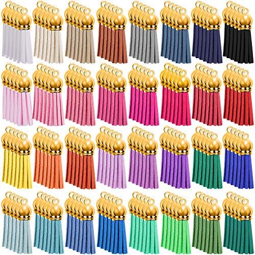 SIQUK 160 Stück Quasten Anhänger Leder 40mm Quaste Schlüsselanhänger für Taschen Armband 32 Farben (Gold Kappe)