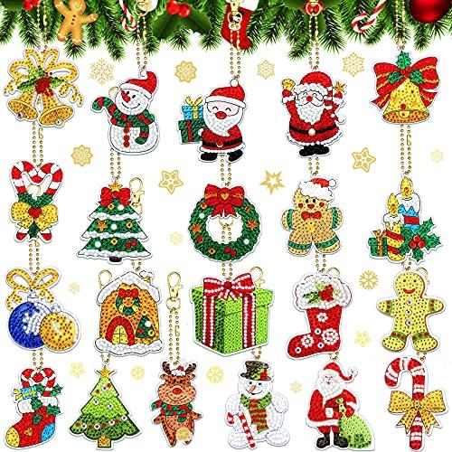 21 Pieces Christmas DIY Diamond Key Chain Christmas Ornaments 5D Key Ring Rhinestone Pendant Decorative Hanging Ornament for Christmas Decor DIY Arts Crafts