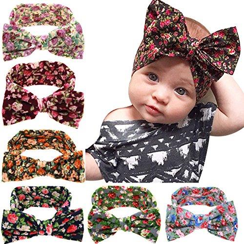 TININNA 6pcs Mignonne Floral Turban Bandeau Élastique Bowknot Serré-tête Bande de Cheveux Sweatband Blindfold Hairband Head Wrap Headband pour Bébé Fille