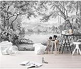 Carta da parati fotografica Murale della foresta in bianco e nero Pittura della giungla della foresta pluviale dipinta a mano retrò europea