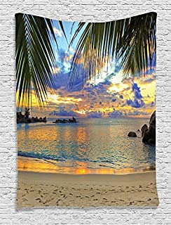 Ambesonne Seaside Decor Collection, Sunset at Beach Rumbling Ocean Luxurious Resort with Palm Trees Travel Locations Picture, Bedroom Living Room Dorm Wall Hanging Tapestry, Ivory Green