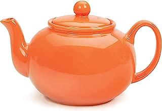 RSVP Large Stoneware Chai Teapot -Microwave & Dishwasher Safe - 42 oz - Orange