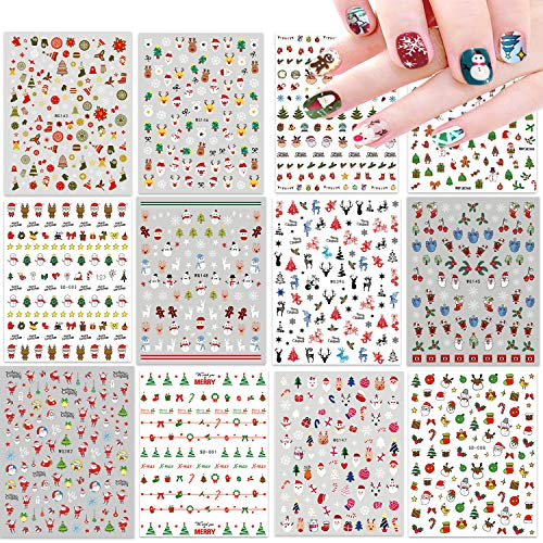 12 Large Sheets Christmas Nail Stickers for Women Girls Self-adhesive DIY Nail Art Decoration Including Xmas Santa Snowman Elk Gingerbread Snow Christmas Tree Bells Stocking Nail Decals for Woman Kids