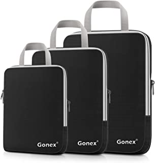Compression Packing Cubes, Gonex Travel Organizers Upgraded 3PCS L+M+S(Black)