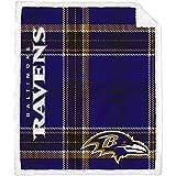 Pegasus Home Fashions Baltimore Ravens 60'' x 70'' Plaid Ultra Fleece Sherpa Throw Blanket