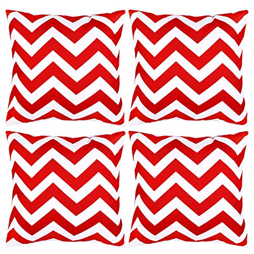 Aneco Pack of 4 Red Waterproof Pillow Covers Outdoor Throw Pillowcases Garden Chair Cushion Case for Home, Garden, Patio Decorations, 18 x 18 Inches