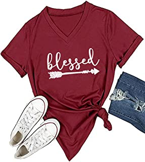 Women's V-Neck Summer Casual Letters Printed Short Sleeves Graphic T-Shirt