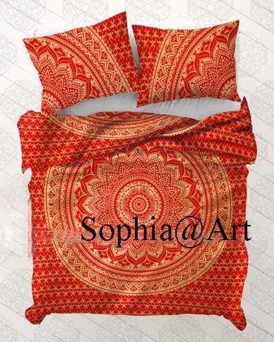 Sophia-Art Housse de couette indienne faite à la main en coton imprimé ethnique, bohème, mandala, ombre avec 2 taies d'oreiller, Coton, Rouge doré ombré., Twin 52*74 Inches