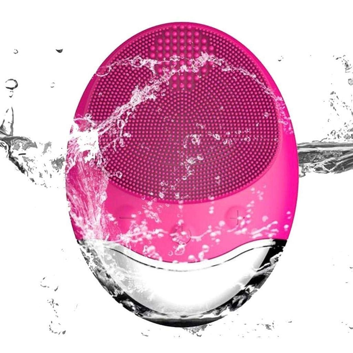 モールス信号海峡レベルクレンジング器具、電気シリコーンクレンジングブラシ、竹炭音波フェイシャルマッサージワイヤレス充電式毛穴クリーナー、ディープクレンジング、穏やかな角質除去 (Color : Red)