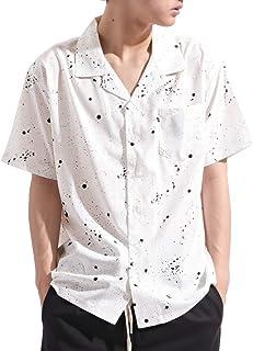 バレッタ Valletta 半袖 総柄 ストレッチ オープンカラー ビッグシャツ 開襟 ワイドシルエット カジュアル ストリート 春 夏 メンズ