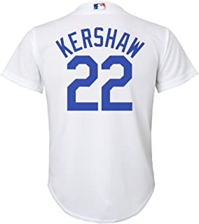 Outerstuff Clayton Kershaw Los Angeles Dodgers White Youth Cool Base Home Replica Jersey