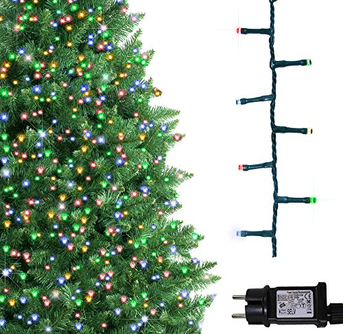 ANSIO Árbol de Navidad Luces 500 LED 12.5m Multicolor Luces interiores/exteriores Decoraciones Luces de cuerda de hadas Alimentación principal 41 pies Longitud encendida Cable verde