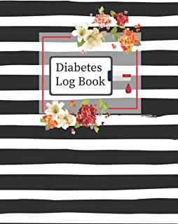 Diabetes Log Book: 2 Years, Daily Target Blood Sugar Range Insulin Does Grams Carb Phys Activity Record (Black Pattern-Des...