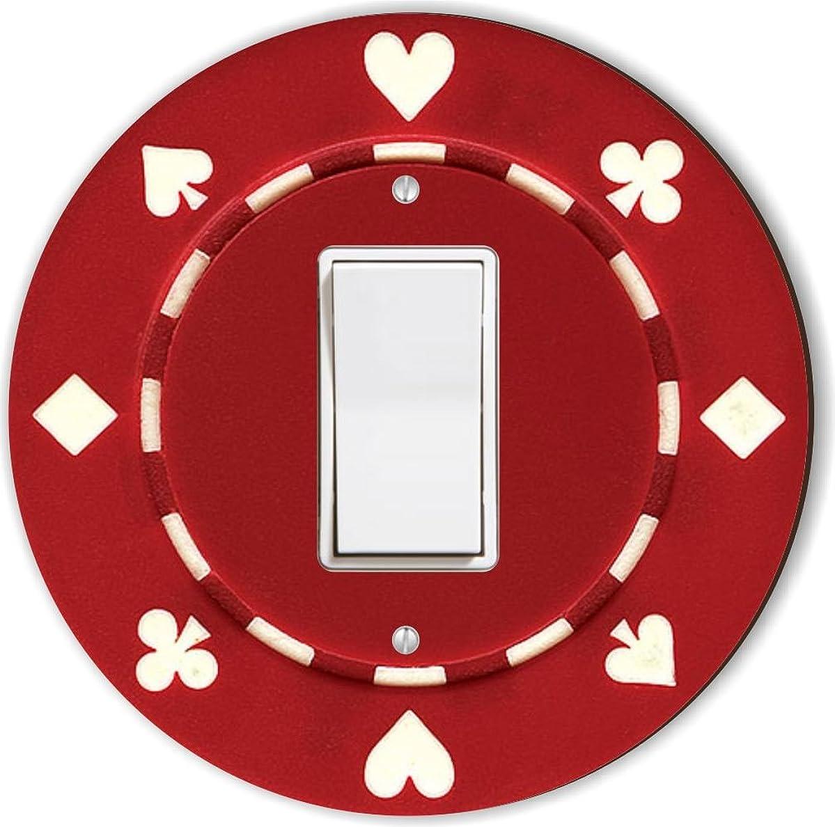 Rikki Knight RND-LSPROCK-83 Poker Chip Round Single Rocker Light Switch Plate, Red