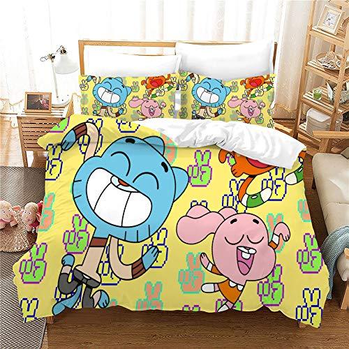 GDGM The Amazing World of Gumball The Wish - Juego de ropa de cama para niños y niñas (1 funda nórdica y 2 fundas de almohada, ropa de cama de 3 piezas (M06, 150 x 200 cm)